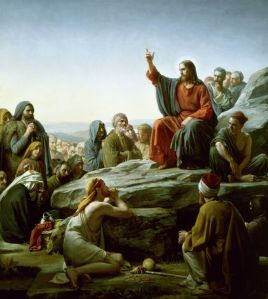 The Sermon ton the Mount. Not everybody looks happy...must be some non-Gentiles in the audience? This image, a nineteenth-century painting by Carl Bloch, can be found on a zillion Internet sites, one of which is http://www.carlbloch.com/php/artwork.php?artwork=686