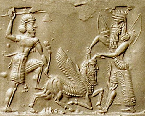 Cylinder seal impression of Enkidu (l) and Gilgamesh (r) battling the Bull of Heaven. You can find this beautiful artifact on many Internet sites, but I will give you this one http://www.emersonkent.com/history_notes/gilgamesh.htm because of the fine discussion that accompanies it.