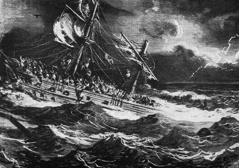 "This bleak and terrifying image of a shipwreck is by the great 19th-century artist Gustav Dore; it is an engraving of his impression of the ship in the ballet ""Le Corsaire."" Note the rough seas."