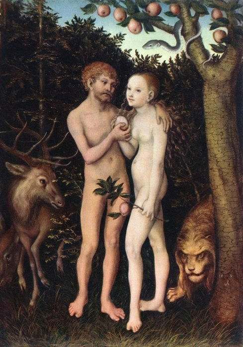 Caution: Human interaction taking place! (One of several kinds of interaction these humans engaged in…note Cain and Abel, for example…) Lucas Cranach the Elder painted Adam and Eve a number of times. This one is in the Gemäldegalerie der Staatlichen Museen, Berlin, and can be found on numerous Internet sites.