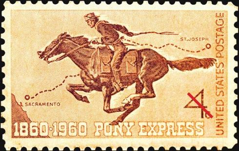 A Pony Express rider, appropriately enough enshrined on a postage stamp. No technology involved here! This image of the stamp accompanies the description of